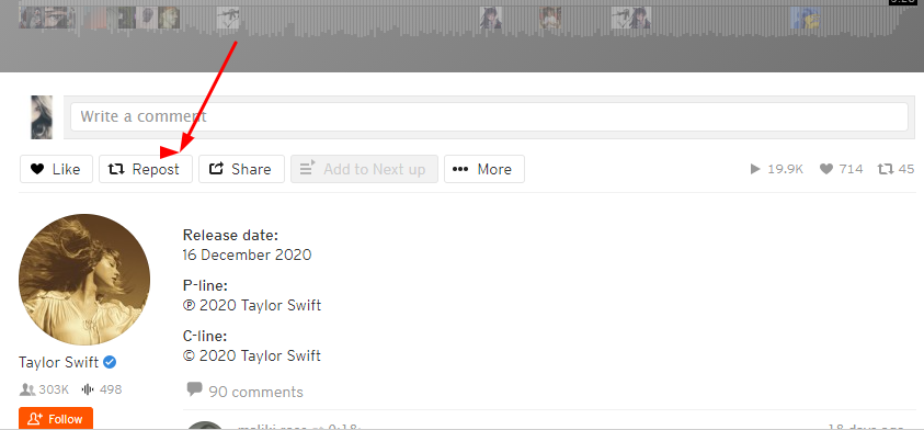 how to repost a track on soundcloud