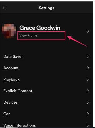 Below your name there is a view profile option