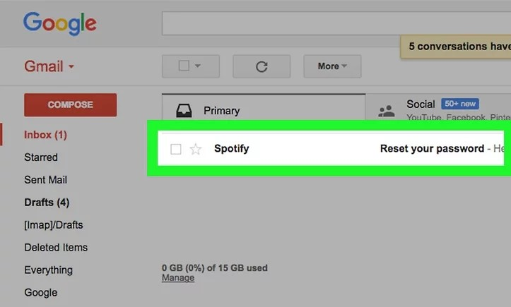 Recieved email for Spotify Password Reset