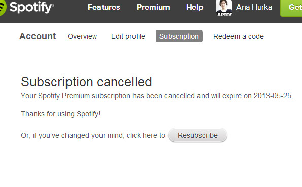 Spotify Subscription Canceled