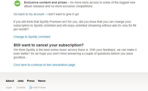 cancel the spotify subscription trial