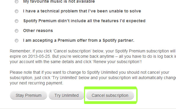 give a reason to cancel your spotify subscription