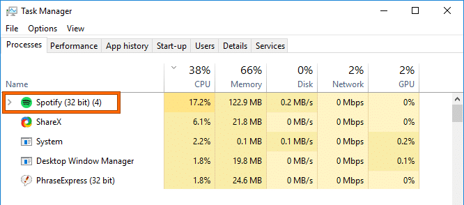 Delete the Spotify from the Task Manager